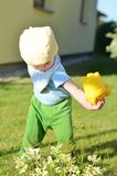 Small boy is watering plants Royalty Free Stock Photography
