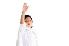 Small boy wearing all white clothing and dark hair Royalty Free Stock Photography
