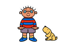 Small boy wearing glasses cartoon. Happy little boy in a striped sweater with his dog. This image can be edited Stock Images