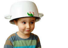 Small boy with white pot on Royalty Free Stock Photos