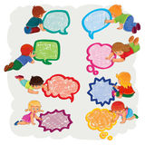 Small boys and girls draw a speech bubbles Stock Image