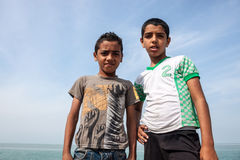 Small boys pose in Hormoz village Stock Image