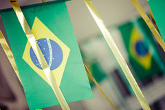 Small Brazil flags used to decorate streets for FIFA World Cup 2 Royalty Free Stock Photography