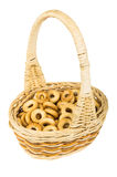Small bread rings in wicker basket with handle Royalty Free Stock Photos