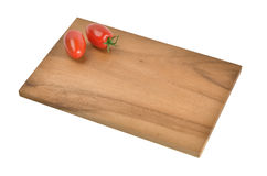 Small breakfast board of wood with decoration on white Royalty Free Stock Photography