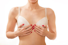Small breasts in white bra Stock Photo
