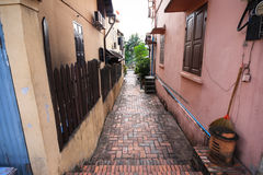 Small brick passage in Luang Pra Bang Stock Images