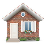 Small brick residential house. With a window, door, grass and flower pots vector illustration