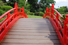 Small bridge. This is a red small bridge in the south of China Stock Photos