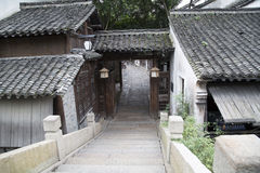 Small bridge and alley in  water town. Bridge and alley in  water town Wuzhen, China Stock Image