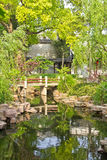 Small bridge in an calm garden Stock Photos