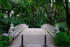 Small bridge in central park Stock Images