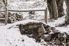 Small bridge covered with snow Royalty Free Stock Photos