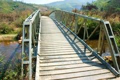 Small bridge cross stream at Vietnamese countryside, this bridge Stock Photo