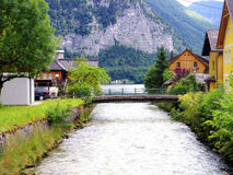 Small bridge in Europe village, Austria Royalty Free Stock Images