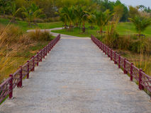 Small bridge in golf course park Stock Photo