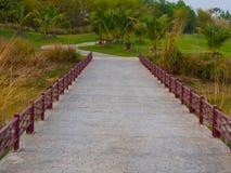 Small bridge in golf course park Stock Photo