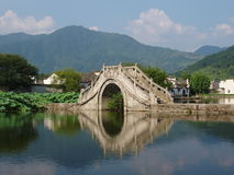 The small bridge of Hongcun in China. Hongcun is a interesting human culture scenery. There are many acient house Royalty Free Stock Photos