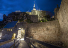 Small Bridge with Mont Saint Michel Stock Photography