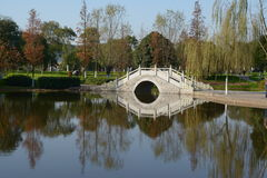 Arch  bridge at orange continent head. Small bridge in orange Isle in Changsha Hunan with a lake. Orange continent head,Changsha famous sights.This Picture is Royalty Free Stock Photos