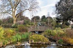 Small bridge over a chanel in a park Stock Photo
