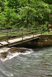 A small bridge over a creek. In a green forest Stock Photos