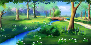 Small Bridge Over the Creek in a Park. Idyllic View of the Small Bridge Over the Creek. Bushes and Flowers near a Water in a Public park. Digital Painting royalty free illustration