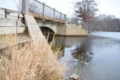 Small Bridge Over Frozen Winter Lake Royalty Free Stock Photo