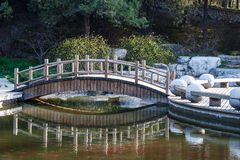The small bridge over a pond Stock Images