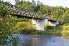 Small bridge over the river. Luznice in the Czech republic Stock Image