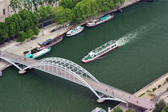 Small bridge over Seine Royalty Free Stock Photo