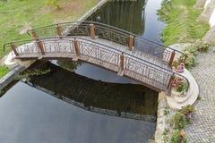 Small bridge over Verke river in Berehove, Ukraine Royalty Free Stock Images