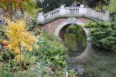 Small bridge in Parc Monceau, Paris Royalty Free Stock Images