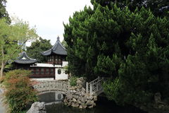 Small bridge and pavilion  in the ShangHai Guilin Park Royalty Free Stock Images