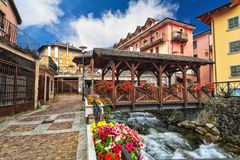 Small bridge in Pontedilegno Stock Photos