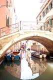 Small Bridge and Reflection in Venice Stock Photo