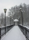 Small bridge in a snow-covered park Royalty Free Stock Images