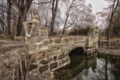 Small bridge with statues Stock Photos