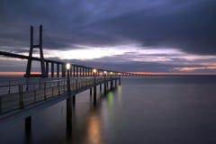 Small bridge. Vasco da Gama Bridge, the longest bridge in Europe, Lisbon Stock Photography