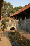 A small bridge was built over a brook in a buddhist temple near Hanoi (Vietnam) Stock Photography