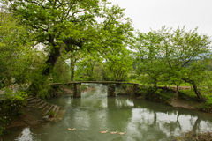 The small bridges and flowing water Stock Photo
