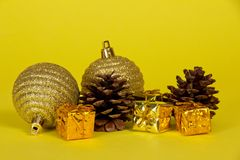 Small bright gift boxes, Christmas decorations Royalty Free Stock Images