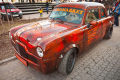 Small bright red Ford Zephyr 1955 car Royalty Free Stock Photo