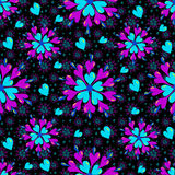 Small brightly colored hearts on a black background seamless pattern Stock Photos