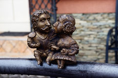 Small bronze statue dedicated to hungarian statesman count Bercsenyi Miklos and his wife Stock Photos