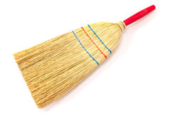 Small broom isolated on white. Background Stock Photo