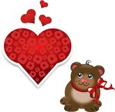 Small brown bear with red hearts Stock Photos