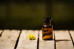 Small brown medicine bottle for magicians remedy, yellow flower lying next to it, sitting on wooden surface Stock Photos
