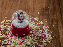 Small bubble whit snow with Santa Claus Royalty Free Stock Photography
