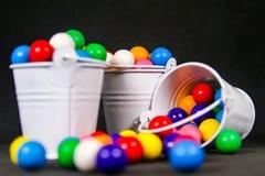 Small Bucket`s of Colorful Bubble Gum Balls stock photo